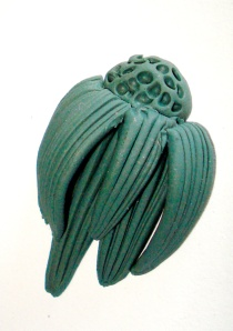 polymer clay, sculpted cone flower