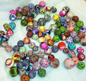 Just a few of the 300 beads we made on Valentines 2013