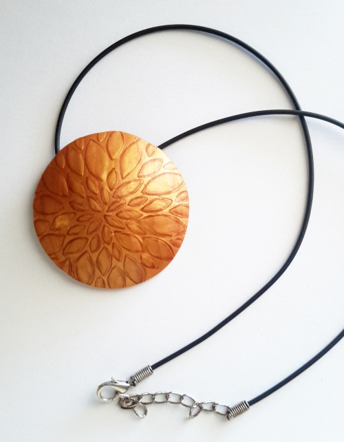 Mika Shift pendant using a brass stencil by Lindas Art Spot